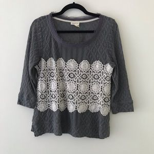 ANTHROPOLOGIE // MEADOW RUE Gray and Lace Top